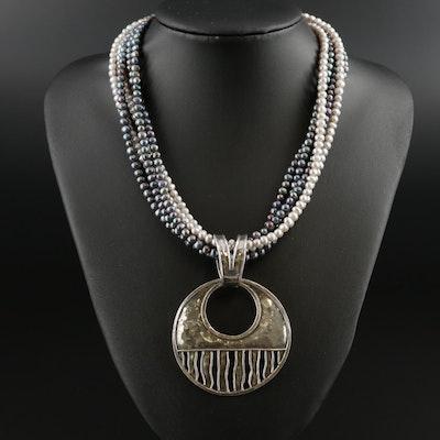 Silpada Sterling Silver Cultured Pearl Multi-Strand Necklace