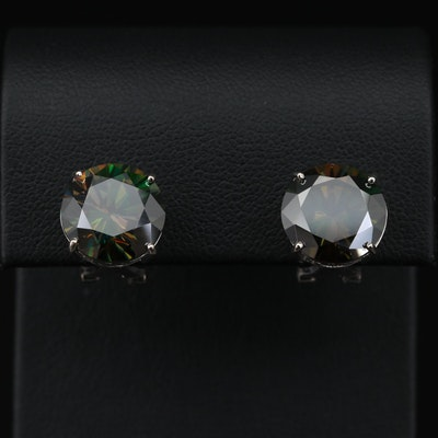 14K White Gold Synthetic Moissanite Stud Earrings