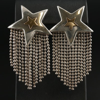 Sterling Silver Star Earrings With 18K Yellow Gold Accents