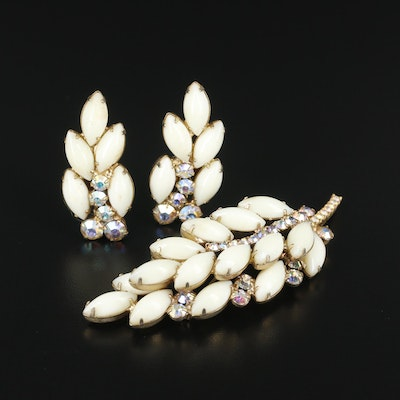 Circa 1960s Juliana Aurora Borealis Rhingstone and Plastic Brooch and Earrings