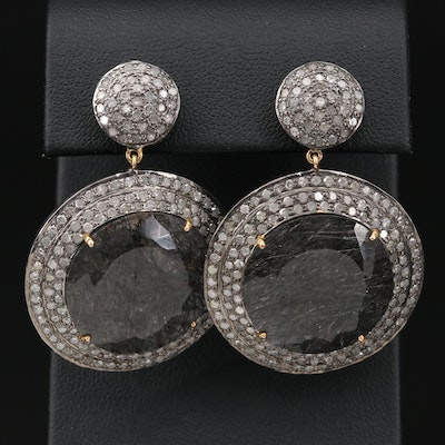 Sterling Silver Tourmalinated Quartz and Diamond Earrings