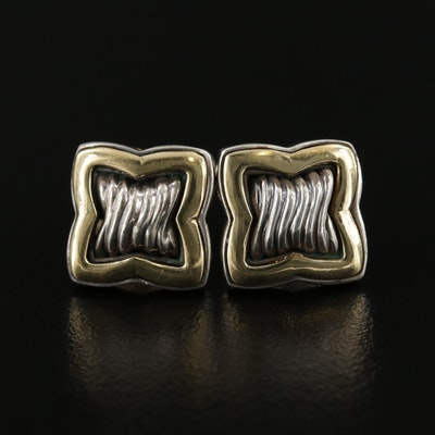 "David Yurman ""Quatrefoil"" Sterling Silver Earrings With 18K Gold Accents"