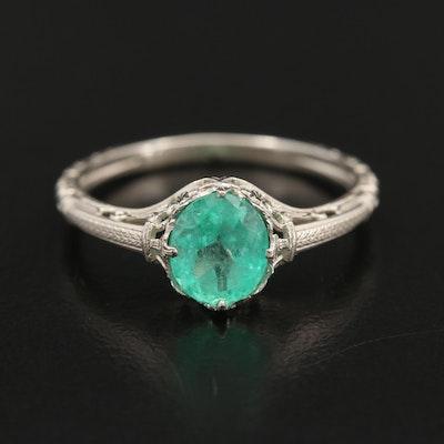Vintage 14K White Gold Emerald Ring