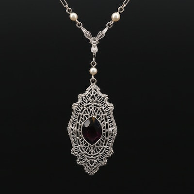1930s 10K Gold Filigree Imitation Pearl and Glass Pendant Necklace