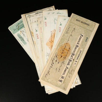 Eleven Antique Bank Checks From the 1870s