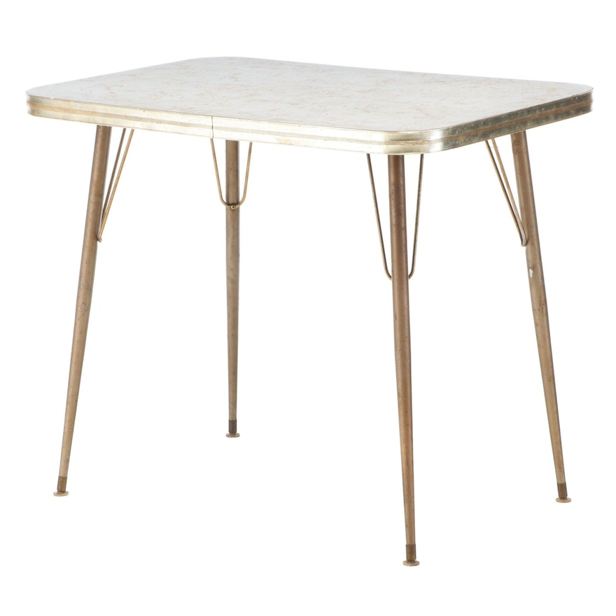 Mid Century Modern Gold Tone Metal and Laminate Top Side Table