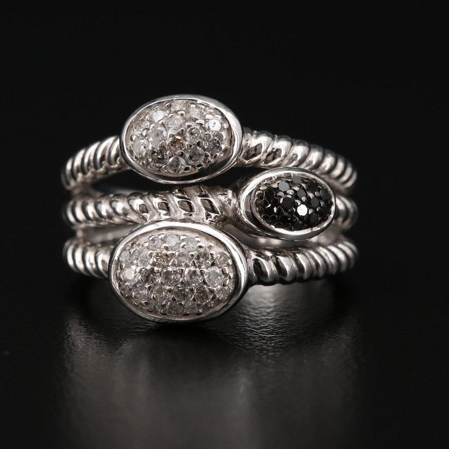 Sterling Silver Diamond and Black Diamond Ring