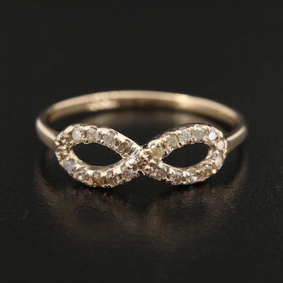 14K Yellow Gold Diamond Infinity Ring
