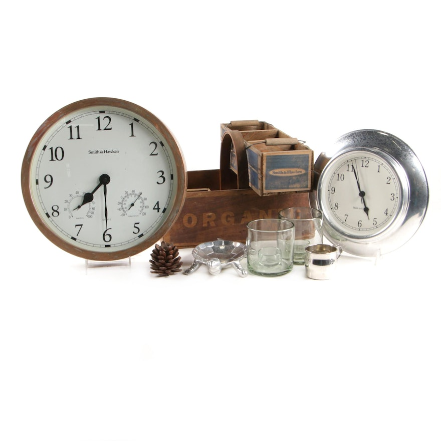 Smith & Hawken Copper Garden Clock with Orchard Boxes and Other Décor