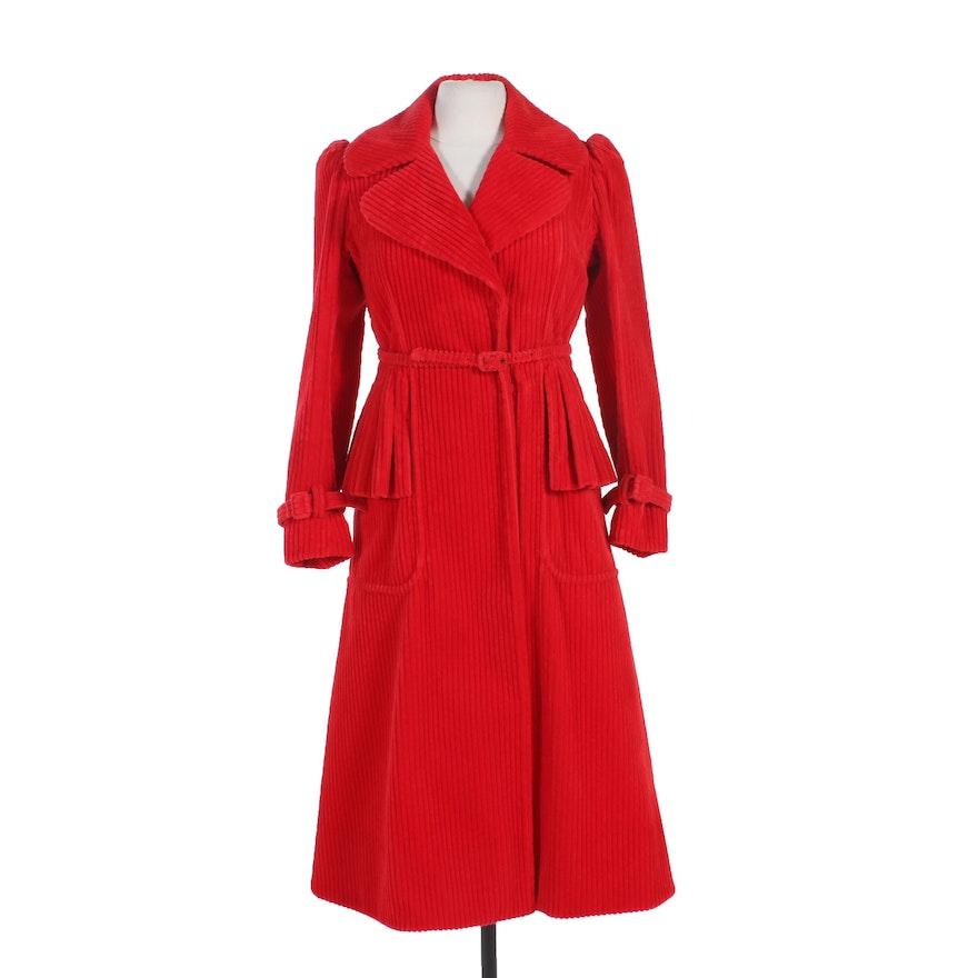 Anne Klein Red Corduroy Belted Coat