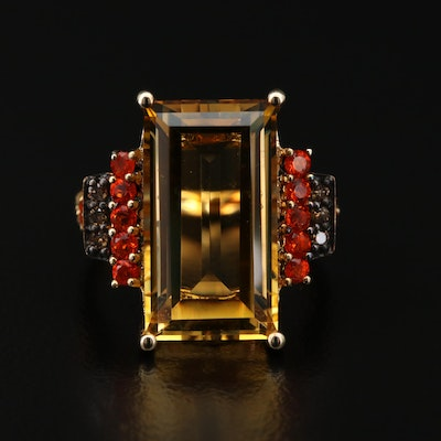 Sterling Silver, Citrine, Fire Opal and Diamond Ring