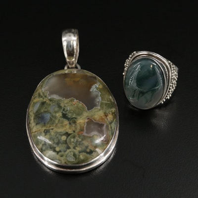 Sterling Silver Moss Agate Pendant and Ring