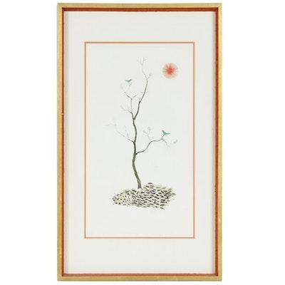 Ushiku Kenji Bluebirds on Tree Aquatint Etching, Late 20th Century