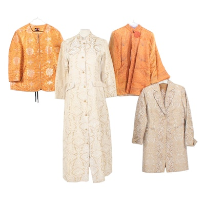 Evelyn Pearson and Other Jacquard Satin Dress Jackets and Set, Vintage