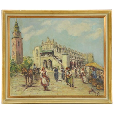 European Market Scene Oil Painting, Early to Mid-20th Century