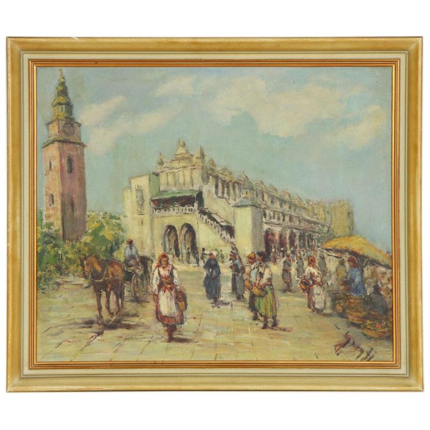European Market Scene Oil Painting, Early to Mid-20th Century