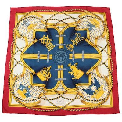 """Hermès """"Grande Tenue"""" Silk Scarf Designed by Henri d'Origny"""