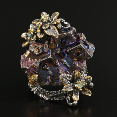 Sterling Silver Emerald and Bismuth Floral Ring
