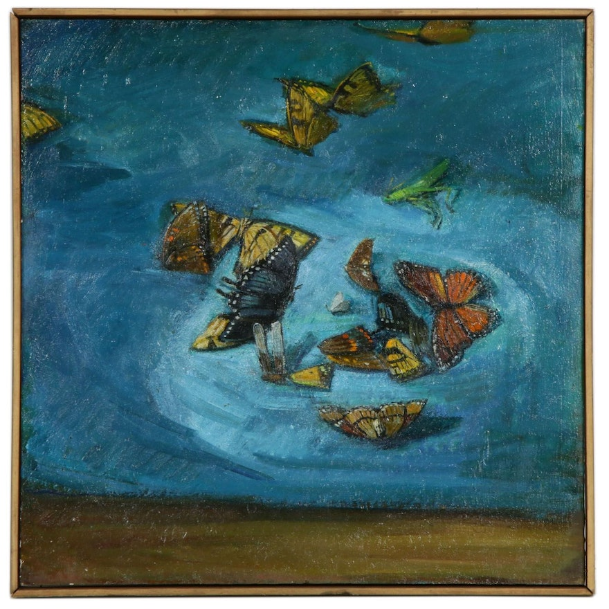 Oil Painting of Butterflies and Grasshoppers