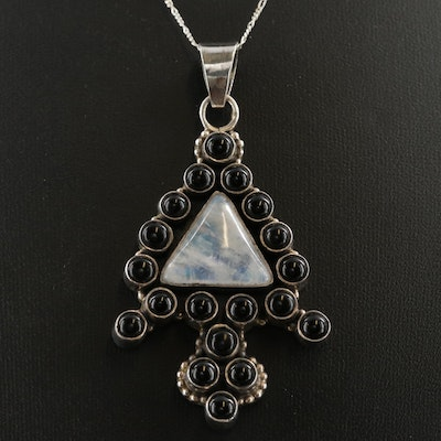 Sterling Silver Rainbow Moonstone and Black Onyx Pendant Necklace