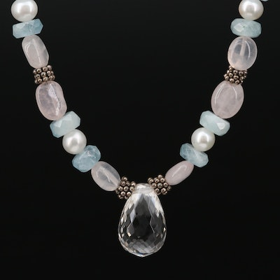 Elise Sterling Silver Rock Crystal Quartz, Aquamarine and Cultured Pearl Necklac