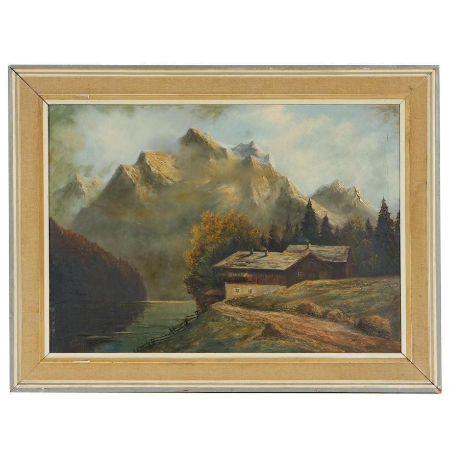 Alpine Landscape Oil Painting, Mid-20th Century