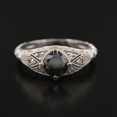 Vintage Style 14K White Gold Black Diamond and Diamond Ring
