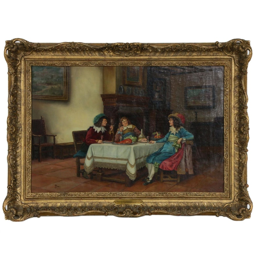 """Genre Oil Painting """"An After Dinner Story"""", Late 19th Century"""
