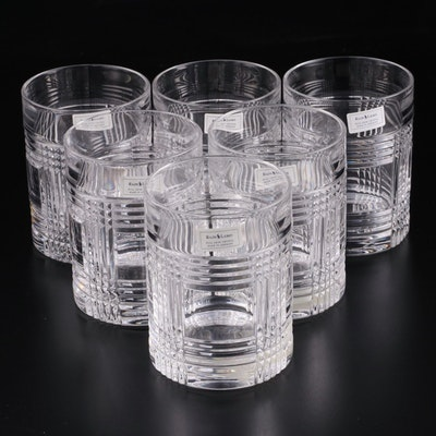 """Ralph Lauren """"Glen Plaid"""" Crystal Double Old Fashioned Glasses"""