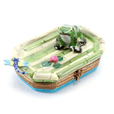 "Rochard ""Frog with Dragonfly and Lily Pad"" Porcelain Limoges Box"