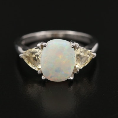 Platinum Opal and Sapphire Ring