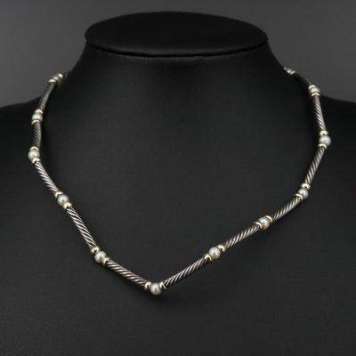 "David Yurman ""Metro"" Sterling Pearl Station Necklace with 18K Accents"