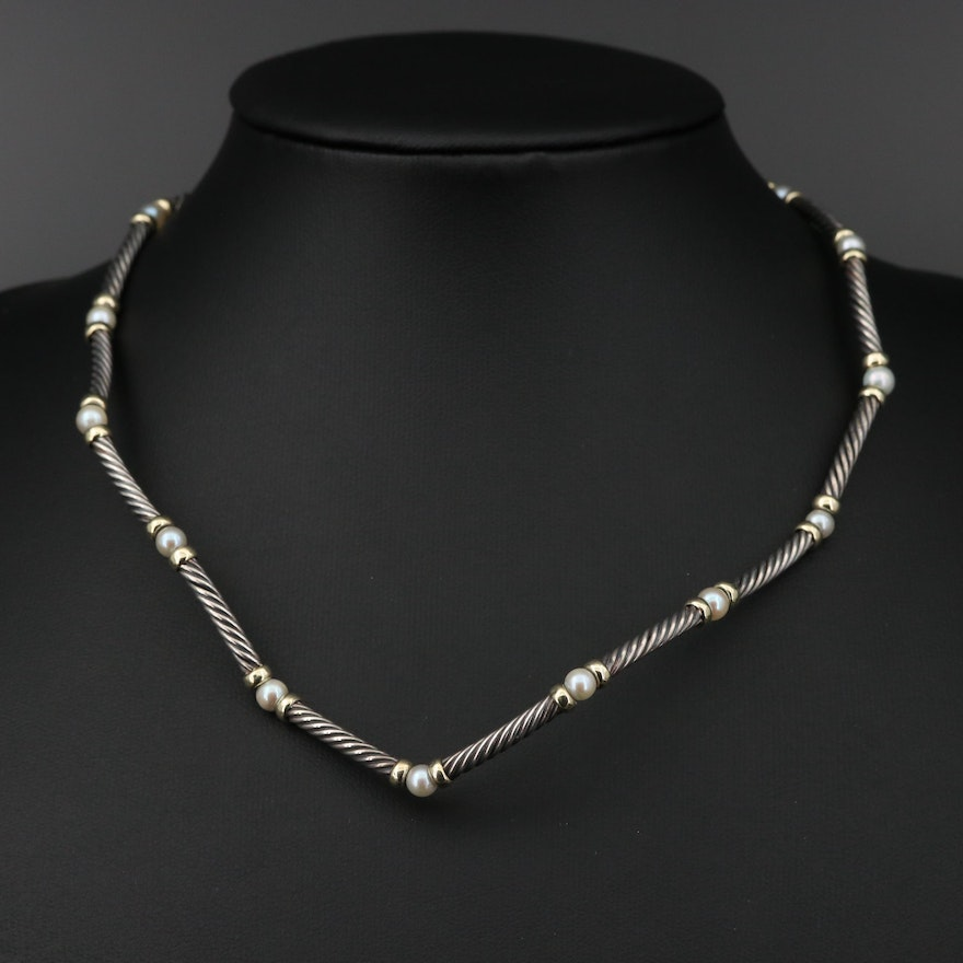 """David Yurman """"Metro"""" Sterling Pearl Station Necklace with 18K Accents"""