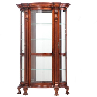 Pulaski Furniture Cherrywood-Stained Serpentine Display Cabinet