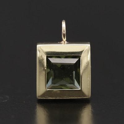14K Yellow Gold Moldavite Pendant