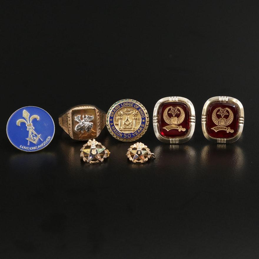 Glass and Enamel Masonic Jewelry Selection