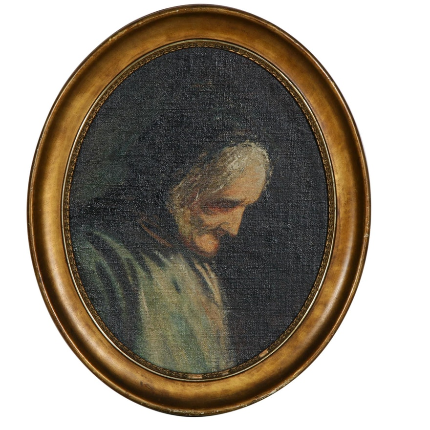 19th Century Portrait of Elderly Woman Oil Painting