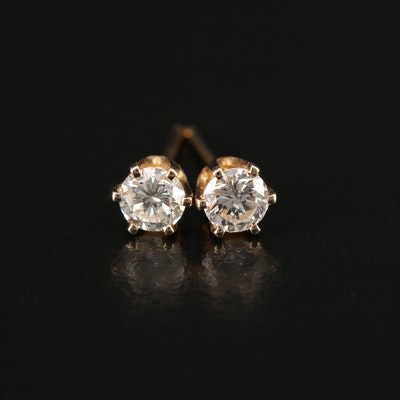 14K Yellow Gold 0.44 CTW Diamond Solitaire Earrings