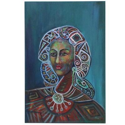 """Thea Mamukelashvili Acrylic Painting """"Andromeda"""""""