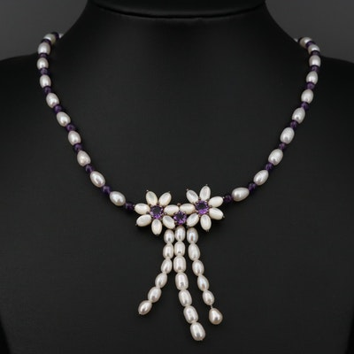 Sterling Silver Cultured Pearl, Amethyst and Mother of Pearl Necklace
