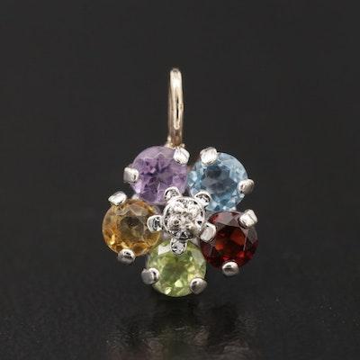 14K Gold Diamond and Gemstone Pendant