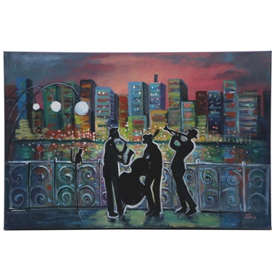 "Thea Mamukelashvili Acrylic Painting ""Evening Jazz"""