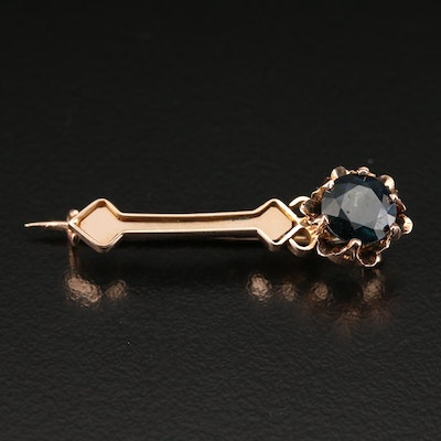Victorian Style 14K Rose Gold Sapphire Bar Brooch