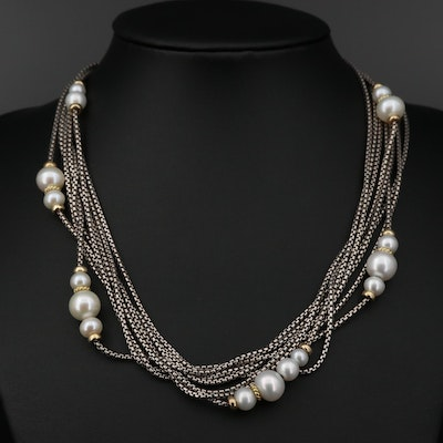 David Yurman Sterling Cultured Pearl Necklace with 18K Gold