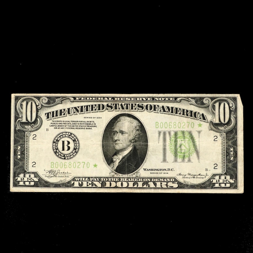 "Series of 1934 ""Star Note"" $10 Federal Reserve Note"