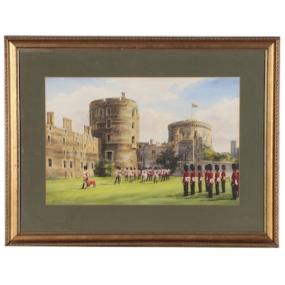 "Michael Vicary Watercolor Painting ""Irish Guards Corps of Drums, Windsor"""