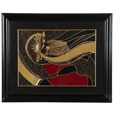 """Martiros Manoukian Embellished Serigraph """"Golden Grace"""", 1999"""