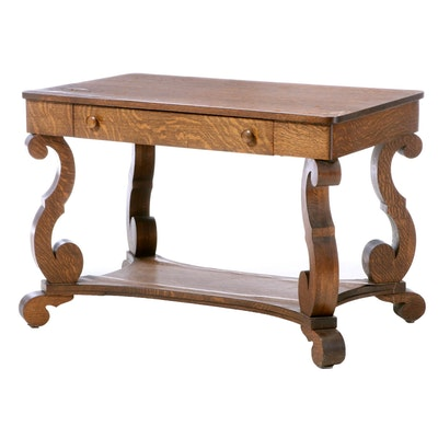 Empire Style Oak Library Table, Early 20th Century
