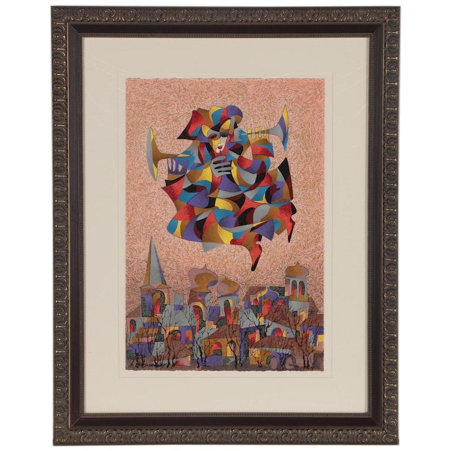 """Anatole Krasnyansky Serigraph """"Celebration"""", 1998"""