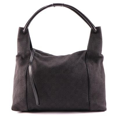 Gucci GG Canvas Shoulder Bag with Black Leather Trim